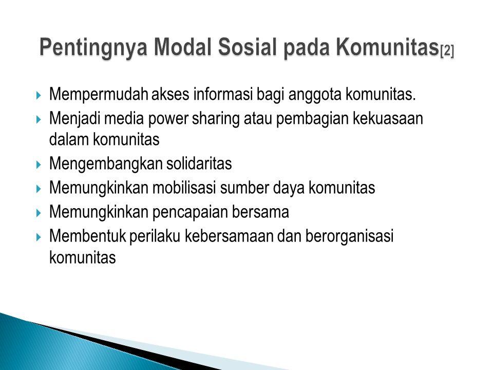 Pentingnya Modal Sosial pada Komunitas[2]